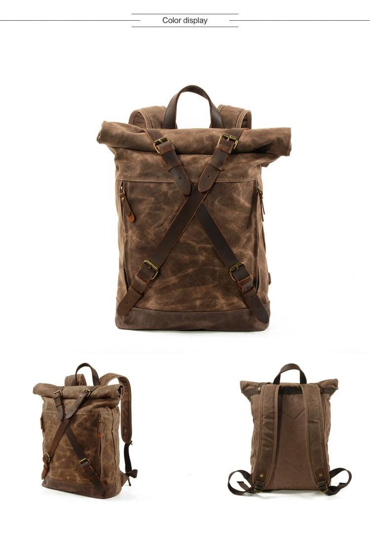 M269 Nieuwe Luxe Vintage Canvas Rugzakken voor Mannen Olie Wax Canvas Lederen Rugzak Grote Waterdichte Daypacks Retro Bagpack