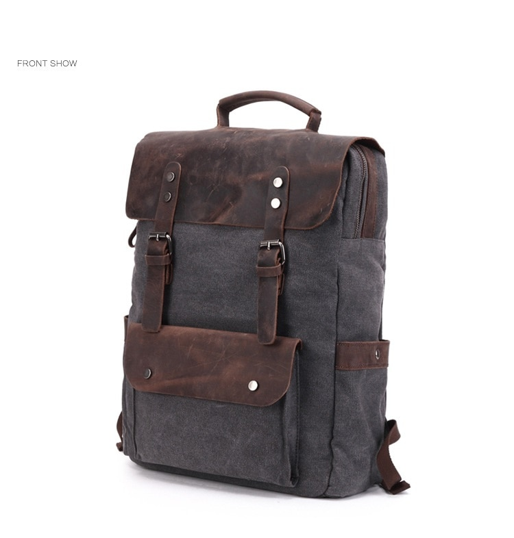 M201 Vintage Multifunctionele Canvas Lederen Rugzakken voor Mannen Laptop Daypacks Canvas Rugzakken Grote Rugzak Terug Packs