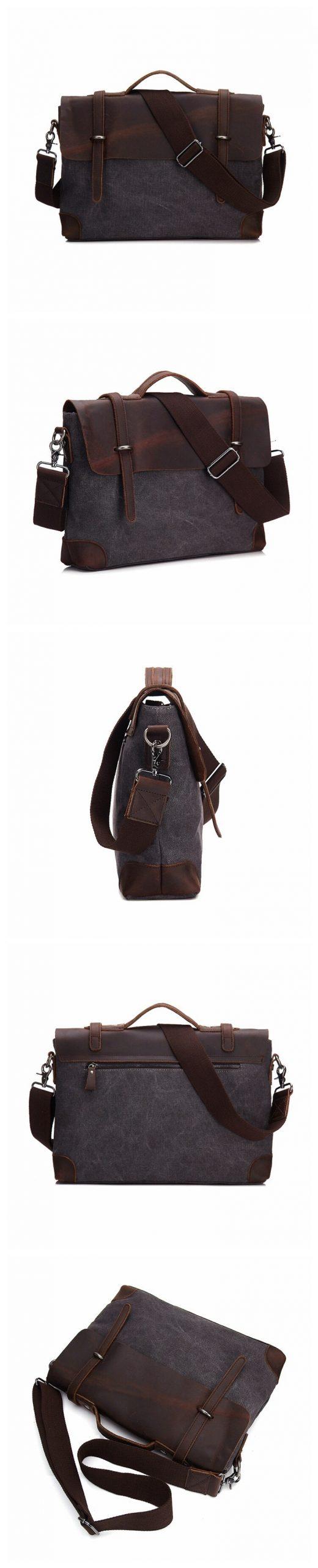 M277 Vintage heren Canvas Messenger Bag Paard Crazy Leather Man Zachte Tassen Schooltas Man Lock Militaire Hangbags Messenger tassen